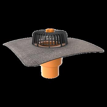 Wpust dachowy pionowy ze zintegrowanym kołnierzem bitumicznym