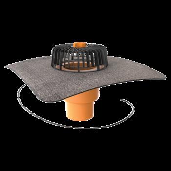 Wpust dachowy pionowy ogrzewany ze zintegrowanym kołnierzem bitumicznym