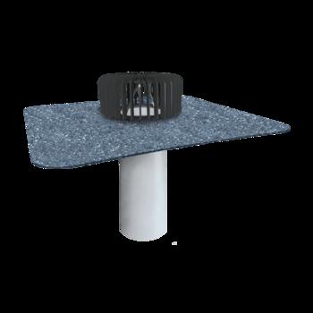 Wpust dachowy jednościenny do nieocieplanych dachów ze zintegrowanym kołnierzem bitumicznym