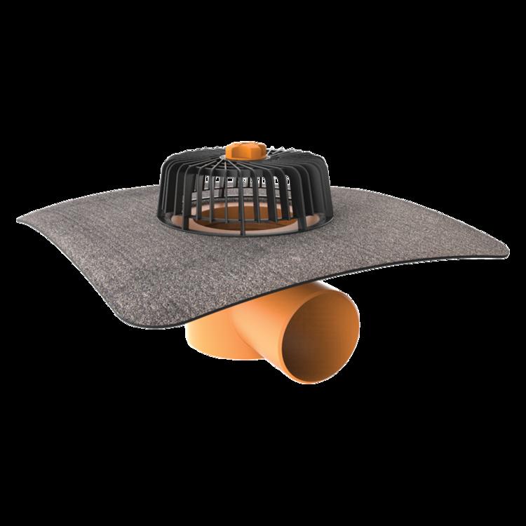 Wpust dachowy poziomy ze zintegrowanym kołnierzem bitumicznym